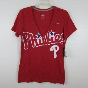Nike Philadelphia Phillies T-Shirt Red L V-Neck